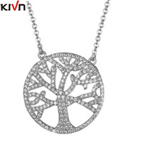 Wholesale Tree Life Family Gifts - KIVN Fashion Jewelry Celtic Family Life Tree Pave CZ Cubic Zirconia Womens Girls Wedding Bridal Pendant Necklaces Birthday Gifts