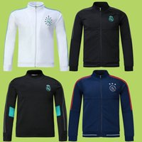 Wholesale men star jacket - 17 18 Real Madrid Soccer Jacket 12 Champions star Tracksuit Tops Football Coat Sportwear Outwear Ajax 2017 Soccer Hoodie Jogging Traing Suit