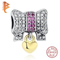 knoten armbänder silber großhandel-BELAWANG 925 Sterling Silber Bogen Knoten Charms mit Gold Herz Europäischen Perlen Fit Ursprüngliche Pandora Schlangenkette Armband DIY Schmuck machen
