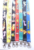 Wholesale pikachu mix - New 10pcs cartoon Mix Pikachu Phone key chain Neck Strap Keys Camera ID Card Lanyard Free Shipping PO046