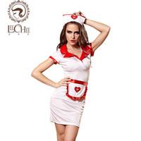 Wholesale Hot Nurse Uniform - Leeches Q890 latex women lingerie sexy hot erotic nurse cosplay uniform prospective headwear+apron temptation porn sexy shop