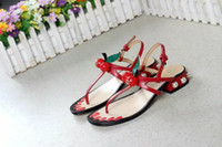 Wholesale Ladies Cherry - Cherry newest 2017ss women lady beach casual designer leather sandal shoes welcome shoes clothes with logo G2156