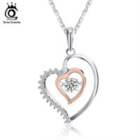 Wholesale Sterling Gold Color Chain - Genuine 925 Silver Double Heart Pendant Necklace with 0.3 ct Crystal Rhodium mixed Rose Gold Color Necklaces SN15