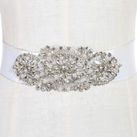 gelinlik için boncuklu tasmalar toptan satış-Moda Gelin Sashes ve Kemerler Gelinlik Kanat Düğün için Boncuklu Rhinestone Kristal Düğün Kemer Ucuz CPA783