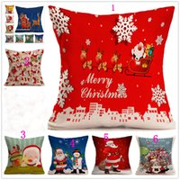 Wholesale Printed Cushions Linen Cotton - Christmas Linen Pillow case Santa Claus pillow case Snowman single cushion cover 43cm*43cm 8style can choose Home Sofa case
