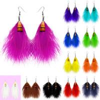 Wholesale Wholesale Teal Feathers - Feather Earrings 12 Colors wholesale lots Cute Charm Elegant Light Dangle Eardrop Hot New (White Black Teal Orange Yellow Green Blue)(JF098)