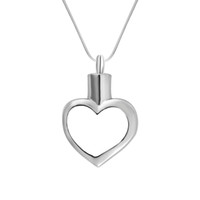 Wholesale ash holder for sale - Group buy Cremation Jewelry Urn Necklace Hollow Heart Love Silver Memorial Keepsake Ashes Holder Pendant Funnel for Ash