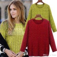 Wholesale Solid Color Boyfriend Shirt - Wholesale-YONO New Fashion Women Sweater Autumn Pullover Shirt Sweater Pastel Twist Knit Top Blusas Europe Style Boyfriend Plus Size 5XL