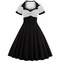 Wholesale Big Polka Dot Women Dress - Women Summer Polka Dot Vintage Dress Fashion Party And Sweetheart Square Neck Defined Waist Big Swing Dress Tunic Dress Vestidos DK3032MX