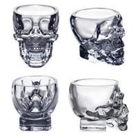 ingrosso tazze pirata-Crystal Skull Head Vodka Wine Shot Bicchiere da bere 80ML Skeleton Pirate Vaccum Beer Glass Mug OOA2318