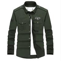 Wholesale army khaki uniform - Plus size M-4XL high quality Summer men's  uniform style men casual long sleeved shirt leisure long sleeved shirt