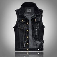 Wholesale Denim Vests For Men - Mens Distressed Denim Waistcoat Blue Sleeveless Jeans Denim Jacket Casual Vests For Men Gilet Biker Homme