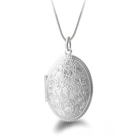 Wholesale Vintage Necklace Oval - 925 Silver Flower Pattern Locket Pendant Necklace With Snake Chain Vintage Oval Photo Inset Jewelry For Women Gift