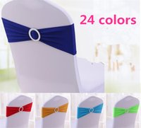 24 cores Spandex Lycra Wedding Chair Cover Sash Bands Wedding Party Birthday Chair fivela sashe Decoração G015