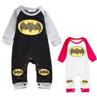 Wholesale Moq One Piece - Low Moq Infant Bat Design Boy Girl Rompers Kids One Piece Bodysuit Children Climb Clothes Baby Snapsuit