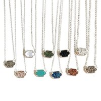 Wholesale Coloured Charms - High quality necklaces 10 colours Drusy Crystal stone Geometry Pendant Necklace 925 Silver plated brand jewelry For women