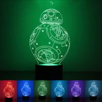 lámparas de globo al por mayor-Regalo creativo 3D llevó luces coloridas de la noche de la lámpara 7 Color cambiante luz mágico globo USB luces de la noche del diseño