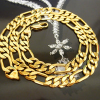 Wholesale 18k Solid Gold Figaro Chain - new! heavy 70g 10mm 18k yellow Solid gold filled men's necklace curb chain jewelry