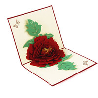 Wholesale Mothers Greeting Cards - 3D Pop up Peony Flower Handmade Greeting Cards Postcards Birthday Mother day Gift Message Card Invitations Card Art paper craft Gifts