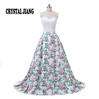 Wholesale Natural Waist Ball Gowns - Hot Sale 2017 Sweetheart Delicate Beaded Natural Waist Custom made Floral Print Ball Gown Elegant Prom Dresses