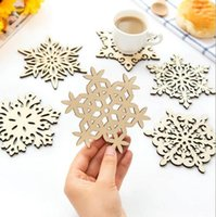 Wholesale Linen Coasters Wholesale - Wooden Snowflake Mug Coasters Holder Drinks Coffee Tea Cup Mat Decor Mats Kitchen Dining Bar Home Decor Xmas Gift (Table Decoration Access