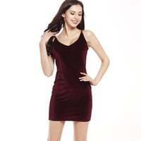 Wholesale Clubbing Bare Shoulder Dress - 2017 Sexy Summer Women Dress Plus Fashion Empire Spaghetti Starp V-Neck Bare-shouldered Party Solid Club Sleeveless Dresses