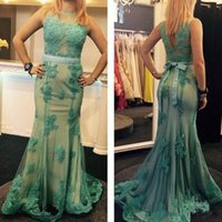 Wholesale Lace Overlay Back - Long Mermaid Party Dresses Evening Gown Sheer Neck Lace Applique Overlay Red Carpet Celebrity Formal Prom Pageant Gowns Women Wear Custom