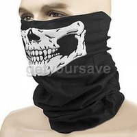 Wholesale Wholesale Skull Helmets - Wholesale-NEW Sport Headband Bike Halloween Skull face mask balaclava Skull Bandana Paintball Ski Motorcycle Helmet Neck Free Shipping