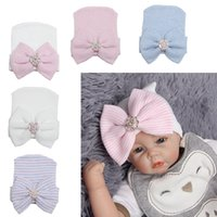 0-3M Newborn Baby Crochet Hats Big Bowknot Shining Diamond Pink Blue Stripe Feminino Baby Knitting Sets New Girls Boys Cap Hat Free Shiping