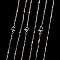 Wholesale 24 Ball Chain Necklaces - Stainless Steel 18 20+2 24 30inch welding jumpring ball station chain necklace for living glass locket glass lockets & oil Diffuser Locket