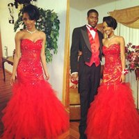 Wholesale American Sweetheart Pink - Red Illusion Lace Tulle Prom Dresses 2K17 Fashion African Americans Puffy Tulle Long Party Celebrity Gowns Mermaid Sweetheart Evening Dress