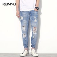 Wholesale Wholesale Jeans Pants - Wholesale- Famous Brand Ankle-Length Ripped Jeans Men High Quality Hole Mens Jeans Pants Oversized Denim Mens Jumpsuit Brand-Clothing
