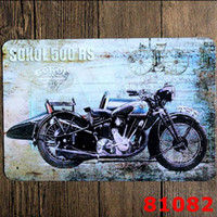 Wholesale Metal Paintings Wall Art - Motorcycle Vintage Craft Tin Sign Retro Metal Painting Antique Iron Poster Bar Pub Signs Wall Art Sticker Motorcycle Notebook Waterproof St