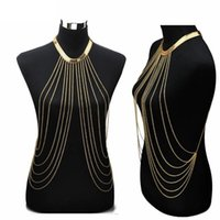 Sexy Choker Multilayer Tassel Cadeias Corporais Gold Long Statement Necklace Summer Beach Bikini Cadeias de barriga Fashion Jewelry