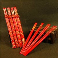 Wholesale Chinese Bamboo Chopsticks - Red Wooden Chinese Double Happiness Dragon Phoenix Chopsticks Wedding Souvenirs Gift Wedding Favor Supplies