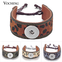 VOCHENG NOOSA Breloques Bracelet Bracelet En Cuir Authentique Leopard Print 4 Couleurs 18mm Lace-up NN-438