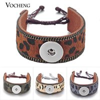 VOCHENG NOOSA Encaixe Braceletes Couro Genuine Leopardo Imprimir 4 Cores 18mm Lace-up NN-438