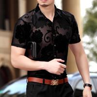 mens rahat ipek gömlek toptan satış-Toptan-Sıcak Yaz Elbise 2016 Moda Mesh Mens Gömlek Erkekler Gömlek İpek Seksi Çiçekli Erkekler Casual Gömlek Kısa Kollu 3XL See Through