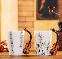 Wholesale Wholesale China Zakka - Creative Violin Music Bone China Mug 240ml Ceramic Coffee Cup Porcelain Tea Cup Zakka Novelty For Gift Cafe Teatime Office