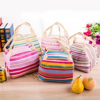 Wholesale Big Bag Eco - Lunch Totes Bag Thermal Insulated Portable Cool Canvas Stripe Carry Case Big Capacity Container Durable Reticule Bags For Outdoor 4 5by D