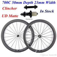 Wholesale Powerway R39 - In Stock 700C 50mm Depth 23mm Width Full Carbon Bike Bicycle Wheels Wheelset UD Matte Clincher Rims With Powerway R39 Hubs