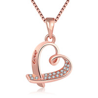 Wholesale Rose Zircon Necklace - 2017 Fashion rose gold plated heart-shaped necklace with zircon charm jewelry for women top quality free shipping