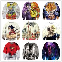 Wholesale Yellow Top Cartoon - New Fashion Couples Men Women Unisex Cartoon Dragon Ball Z Characters Funny 3D Print No Cap Jacket Hoodies Sweater Pullover Top S-5XL W6