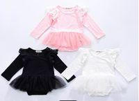 Wholesale Wholesale Baby Lace Bodysuits - 2017 New Baby Girls Bodysuits cotton Lace gauze Long Sleeve Princess Jumpsuits Overalls Clothing D0056