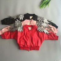 Wholesale Boys Kids Leather Jackets - Fashion Wholesale Kids Jackets Pu Leather Boys Girls jacket angel's wings Children Outwear Winter Coats Kids Coat Leather Jackets 2-15Y A757