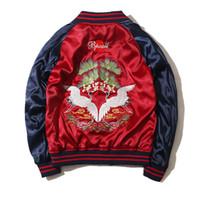 plumeau rouge achat en gros de-Harajuku Broderie Souvenir Bomber Veste hommes Femmes Baseball Col Poche Élastique Hem Rouge Bleu Contraste Duster Manteau Suk