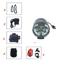 Wholesale Led Xml Bike - 7000 Lumens Headlight 4 x C-XML T6 LED Bike Bicycle Light & LED HeadLight with Rechargeable battery Pack + Rear Light