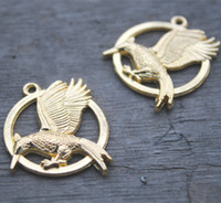 Wholesale Hunger Games Wholesale - 10pcs Gold Tone Hunger Games Catching Fire Pendants Jewelry Charms 25mm Jewelry Making Supplies