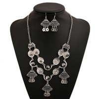 Wholesale Tassel Peacock Necklace - Classic Coin Gemstone Necklace Earrings Sets For Women Exaggerated Silver Plated Chunky Tassel Charms Vintage Jewelry Sets Wholesale