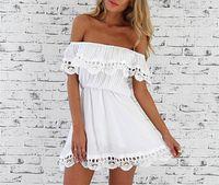 Wholesale Dresses Bands - 2017 Summer Women Strapless Lace Hollow Out Collar Dress Off Shoulder Mini Elastic Band Dresses White Black